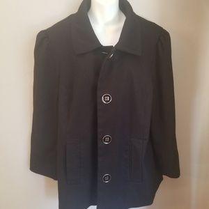 Dialogue 1x black button up pea coat